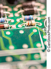 bussines technology chip - image of chips in a circuit of a...