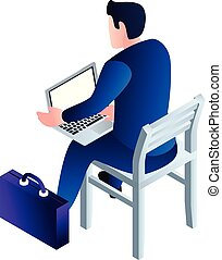 Bussinesman on chair with laptop icon, isometric style