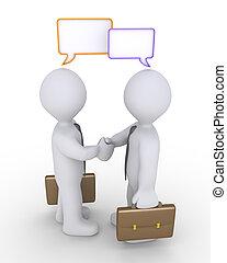 Bussinesmen agreement and speech bubbles
