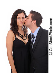 Bussiness couple - man kissing wife