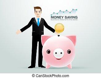 bussiness, denaro risparmio, maiale, banca moneta, uomo