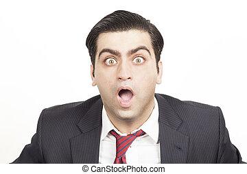 bussiness, homem, com, um, chocado, expressão