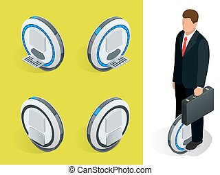 bussiness man on One-wheeled Self-balancing electric scooter vector isometric illustrations. Intelligent and fashionable personal transportation tool with interactive function. Concise, fashionable.