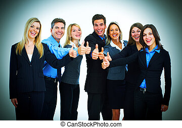 Bussiness team of men and women thumbs up