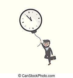 bussinessman, balloon, horloge, voler