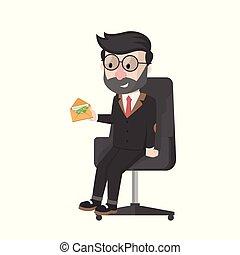 bussinessman got his salary vector illustration