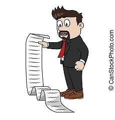 bussinessman holding a profit paper