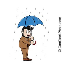 bussinessman in the rain with umbrella
