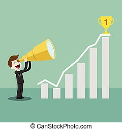 Bussinessman or manager has a success in his business. Golden cup on top of the chart
