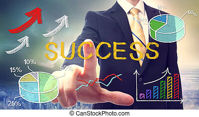 Businessman with success text and concept cartoon
