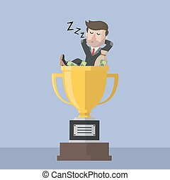 bussinessman sleeping on trophy