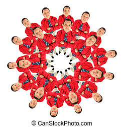 bussinessmen in red shirt circle collage