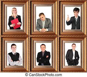 bussinessmen, povolání, themed, polodlouhý, koláž, portrét, úspěšný, šest, zarámovaný