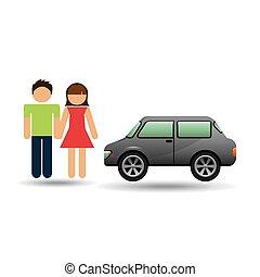 bussola, automobile, coppia, disegno