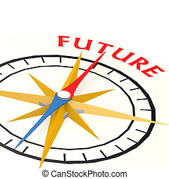 bussola, con, futuro, parola