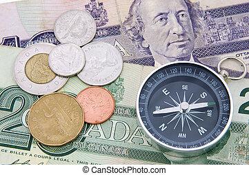 bussola, dollaro, canadese