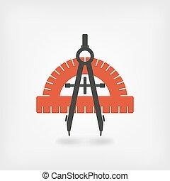 bussola, e, goniometro, simbolo