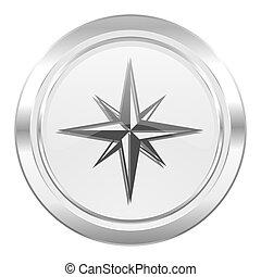 bussola, metallico, icona