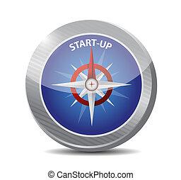 bussola, start-up, concetto, illustrazione, segno