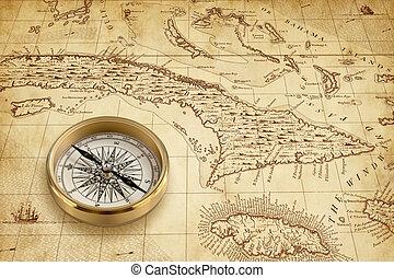 bussola, vecchio, mappa pirata, ottone