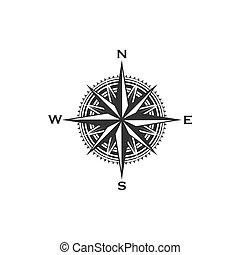 bussola, vendemmia, simbolo, segno