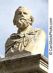 Bust of Giuseppe Garibaldi in one park of Palermo