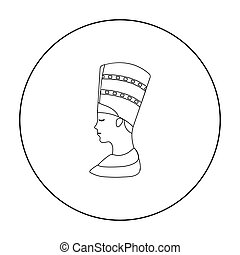 Bust of Nefertiti icon in outline style isolated on white background. Ancient Egypt symbol stock vector illustration.