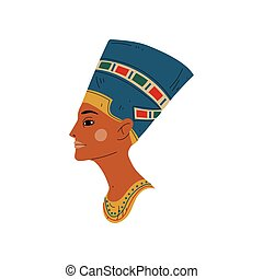 Bust of Nefertiti, Symbol of Ancient Egyptian Culture Vector Illustration