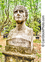 Bust statue of Bramante. Sculpture in Villa Borghese park, Rome