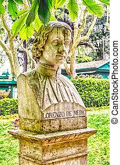 Bust statue of Lorenzo de' Medici. Sculpture in Villa Borghese park, Rome