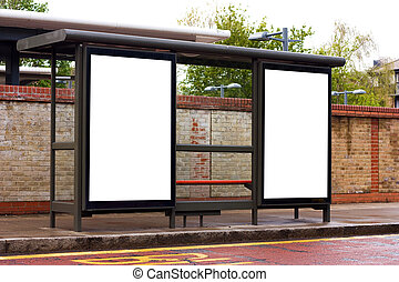 bust stop with blank billboards.