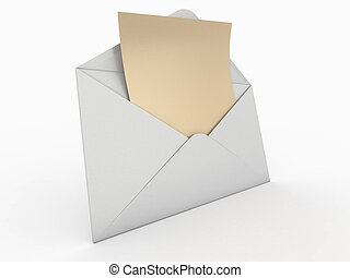 busta, 3d, letter., vuoto, mail.