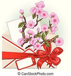 busta, con, fiore ciliegia