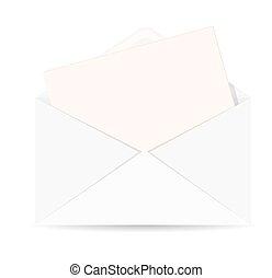 busta, ic, vettore, aperto, lettera