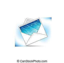 busta posta, con, mare, fondo, cartolina