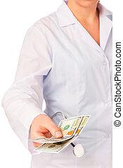 bustarella, dollari, mano, -, dottori