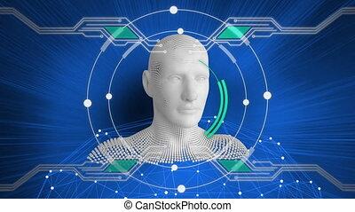 buste, circuit électronique, en mouvement, humain