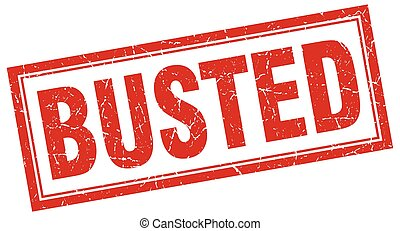 busted red grunge square stamp on white