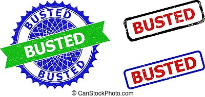 BUSTED Rosette and Rectangle Bicolor Stamp Seals with Grunged Surfaces