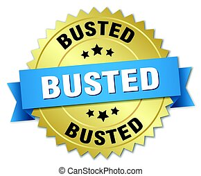 busted round isolated gold badge