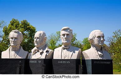 bustes, van, vier, statesmen, gekerfde, standbeelden, op,...