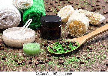 busting, madeira, superfície, produtos, spa, celulite