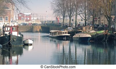 Bustling Canal Area In The City - Busy central area of...