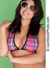 Busty Model In Bikini And Sunglasses