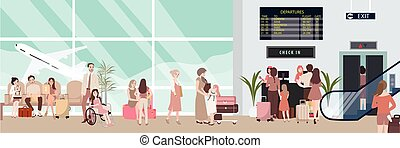 busy airport scene illustration with plane and people...