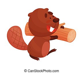 Busy Beaver Carrying Heavy Log for Building Dam Vector Illustration