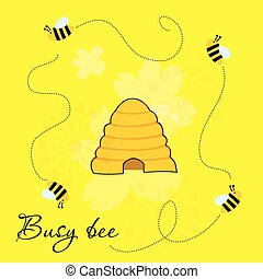 Cute cartoon vector illustration of busy bees around beehive