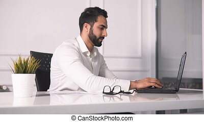 Busy Boss Smiles - Intelligent and handsome entrepreneur...