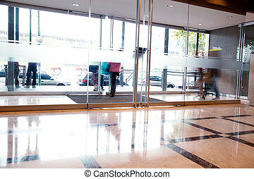 Busy Building Interior - A busy building interior in a urban...