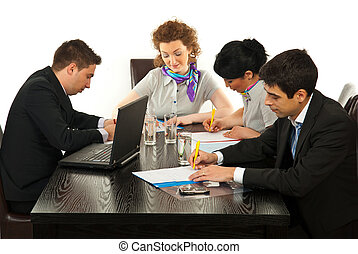 Busy business people in office